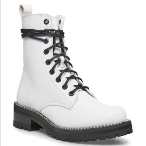STEVEN NEW YORK WHITE LEATHER GARDY COMBAT BOOT
